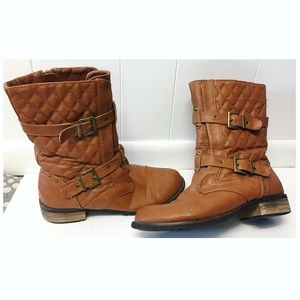 Bucco | Brown Buckle Boots Quilted Sides EUC